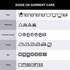 Laundry symbols. Signs are care for clothing.