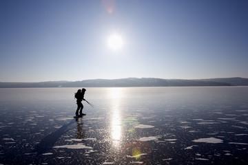 Long distance ice skating, Sweden.