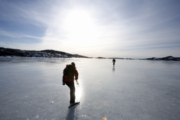 Long distance ice skating, Sweden.