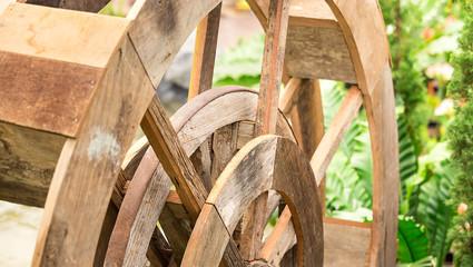 wood water turbine in farm