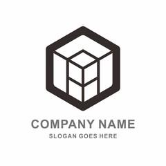 Geometric Hexagon Cube Vector Logo Template