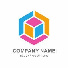 Geometric Hexagon Cube Vector Logo Template