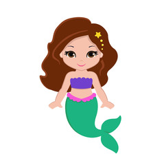 Cute little mermaid.Vector illustration.