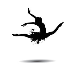 ballerina silhouette black on white