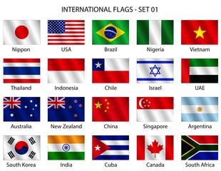 Set di bandiere internazionali vettoriali