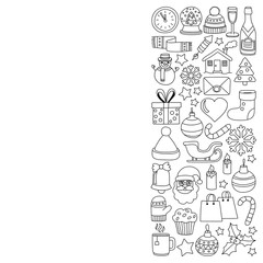 Doodle vector icons Merry christmas and happy new year