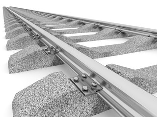 3D Illustration of a straight railroad track isolated