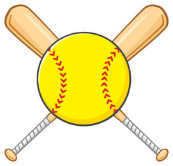 Yellow Softball Over Crossed Bats Logo Design