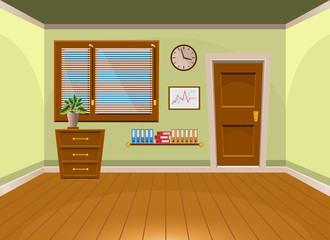 Cartoon flat vector interior office room in lime style. Vector illustration