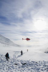 A helicopter leaving people, Kebnekaise, Sweden.