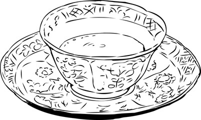 Outlined Chinese Teacup and Saucer