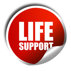 life support, 3D rendering, a red shiny sticker