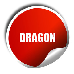 dragon, 3D rendering, a red shiny sticker