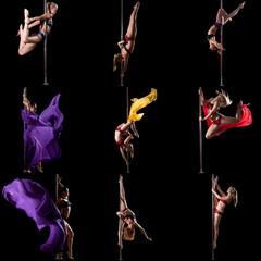 Pole dance. Photo set of girl training on pylon