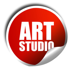 art studio, 3D rendering, a red shiny sticker
