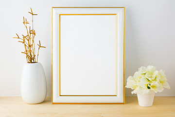Frame mockup with white flowerpot