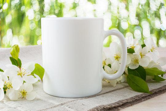 Mug mockup with apple blossom