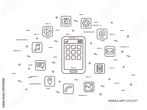 Linear Mobile App Phone Application Vector Illustration