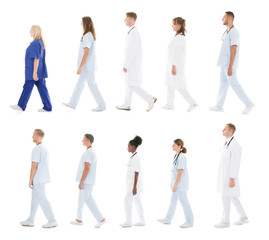 Medical Team Walking In Row