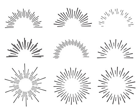 hand drawn sunbursts and frame, vector illustration, graphic design, sunburst set, collection set