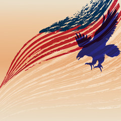 Eagle silhouette with usa flag.