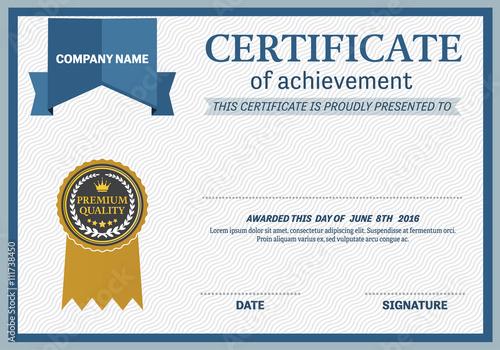 Certificate Template Vector Illustration Design Gold Medal