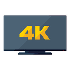 TV flat icon with golden 4k sign on the screen