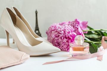 Women's Accessories: white shoes, toilet water, peonies, concept paris
