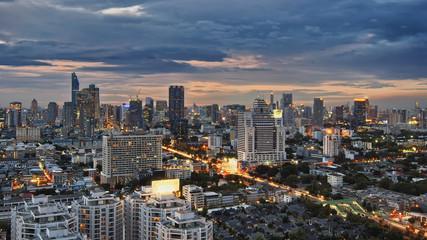 Bangkok cityscape with spring sunset