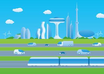 Light rail transit and smart transportation, image illustration