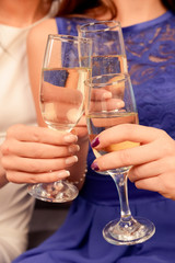 Close up of people toasting at celebration clinking their glasse