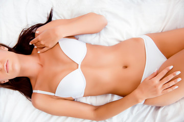 Top view of perfect slim fit woman's body