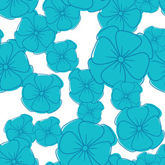 Vector image of seamless pattern of blue petunias on a white background. Blue flowers with a dark blue stroke. Vector seamless pattern.