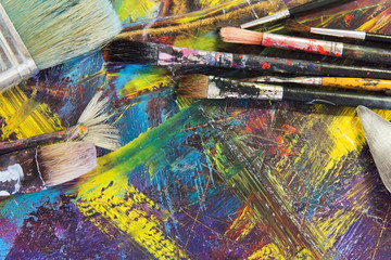 brush to paint the picture. paint brushes