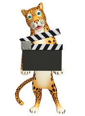 Leopard cartoon character with clapboard