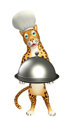 cute Leopard cartoon character with chef hat and cloche