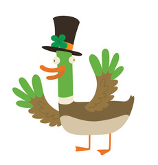 """Vector cartoon image of funny """"good luck"""" duck with brown-green body, the green head and orange beak, paws in a black cylinder with a green clover on a white background. Wordplay. Vector illustration."""