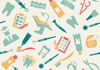 Seamless pattern on the theme of dentistry
