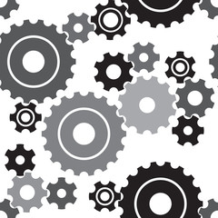 Seamless cogwheel pattern, machinery background. Vector