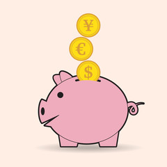 Piggy bank with coins, vector illustration
