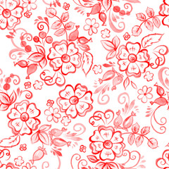 Floral Watercolor seamless pattern in Russian Gzhel Style. Vector illustration