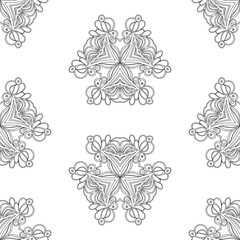 Coloring Page for adults. Abstract ornamental vintage seamless pattern.