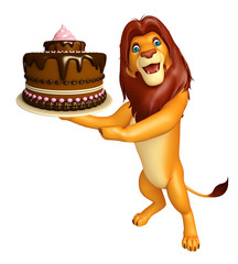 cute Lion cartoon character with cake