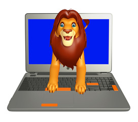 fun  Lion cartoon character with laptop