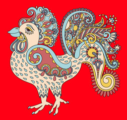 original retro cartoon chicken drawing, symbol of 2017 new year
