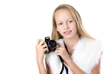 Portrait of happy girl with camera