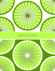 a set of two stylized lime slices seamless tiles patterns in green shades