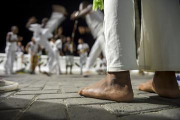 Brazilian capoeira group performing at night in Salvador, Bahia, Brazil