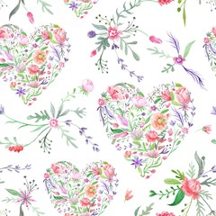 Provence Watercolor Pattern with Floral Hearts