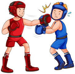 Boxers with headguard and gloves